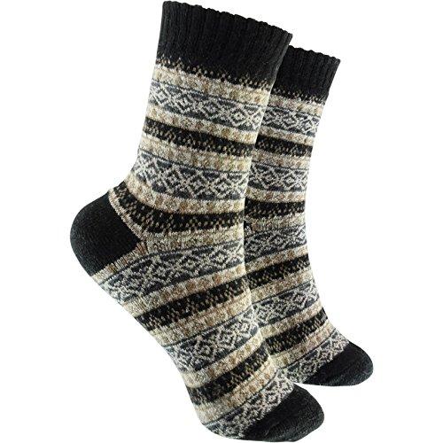 Preisvergleich Produktbild cosey - bunte Socken in Winter Design schwarz (38-43) - 6 Paar