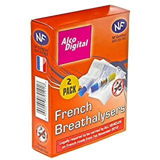 AlcoDigital Französische NF geprüft Single Nutzung Alkoholtest ( 2 teiliges Set)