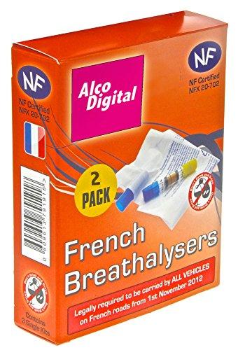 AlcoDigital Alcoholímetro francés NF aprobado único uso (2unidades)