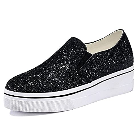 Fanshionable Guciheaven Women's Patent PU Sparkling Loafers