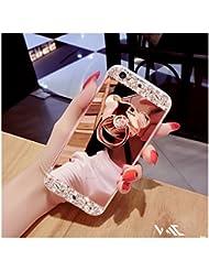 FESELE Coque Huawei P10, Huawei P10 Cas,Coque Huawei P10 Miroir [ Bague Supporter] Luxe Crystal Rhinestone Bling diamant Briller TPU Souple en Caoutchouc Pare-chocs de Cas Miroir de Maquillage de Cas Caoutchouc Silicone Souple Étui Protecteur Anti-Scratch Bumper pour Huawei P10 + 1 X Stylo Bleu - Or Rose