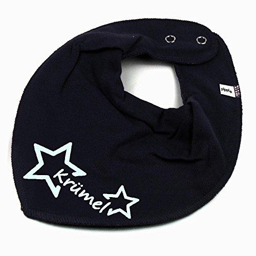 HALSTUCH Stern mit Namen oder Text personalisiert dunkelblau für Baby oder Kind (Personalisierte Für Kleidung Kinder)