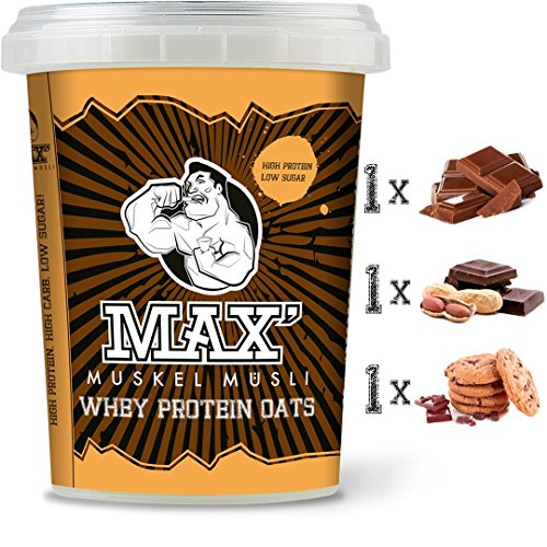 MAX MUSKEL MÜSLI Whey Protein Oats Müsli to go Haferflocken fein mit viel Eiweiß Oats Porridge ohne Zucker-Zusatz & Nüsse - fettreduziert viel Eiweiss Sportlernahrung für Muskelaufbau & gesundes Frühstück 3er Set Becher Schoko, Schoko Erdnuss, Schoko Cookie (Schoko-haferflocken)