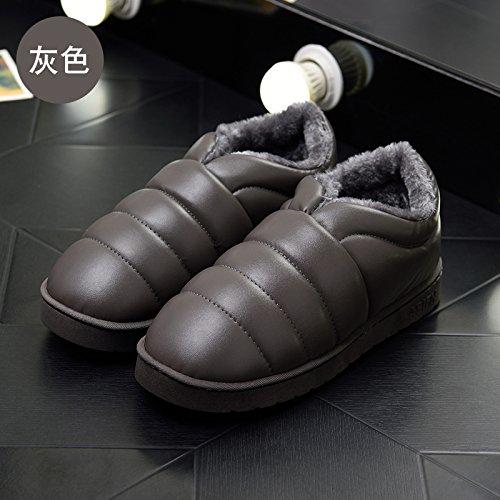 DogHaccd pantofole,Le eleganti stivali in autunno e inverno stivali impermeabili in pelle antiscivolo neve piatti caldi stivali scarpe di cotone Grigio3