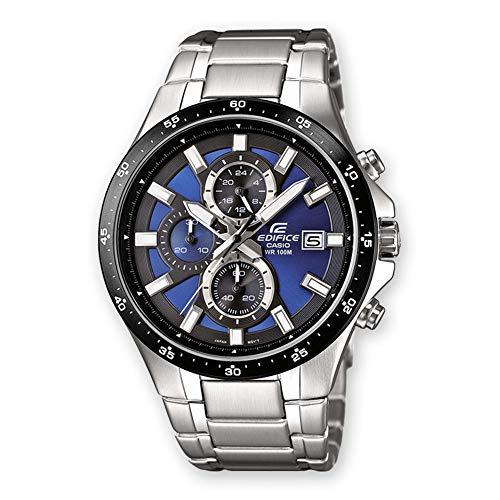 Casio Edifice Herrenarmbanduhr EFR-519D-2AVEF, blau schwarz, massives Edelstahlgehäuse und Armband, 10 BAR