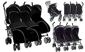 Poussette triple Kidz Kargo avec 3 chancelières noires et habillage pluie. Parfaite pour assistantes maternelles ou parents de triplets ou d'enfants d'âges rapprochés. 3 sièges indépendants, avec dossiers inclinables. A partir de la naissance.