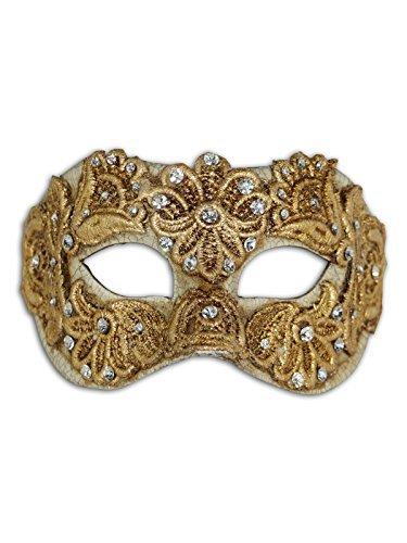Luxus Venetian Augenmaske Colombina Mac mit Macrame für Frauen (gold)