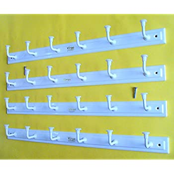 Bhagwati Metal 6 Hook Door/Wall Cloth Hanger With Screws, Set of 4, White