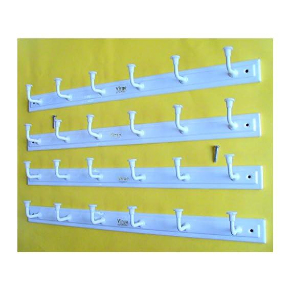 Bhagwati Metal 6 Hook Door/Wall Cloth Hanger With Screws, Set of 4, White