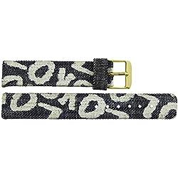 Watch Strap in Jeans Jeans - 16mm - - buckle in Gold stainless steel - B16JeaItr60G