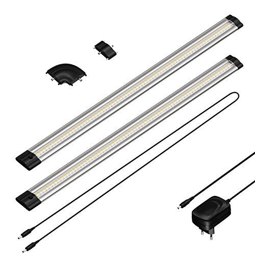 parlat LED Unterbau-Leuchte SIRIS, flach, je 50cm, 100cm Kabel, 500lm, warm-weiß, 2er Set - 50-serie Leuchten