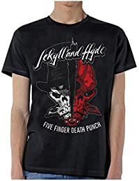 Five Finger Death Punch Shirt Jekyll and Hyde Logo Official Mens Black