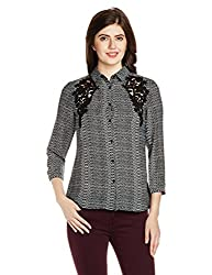 Van Heusen Womens Button Down Shirt (VWSF515D01426Long Sleeve_Grey With Black_S)