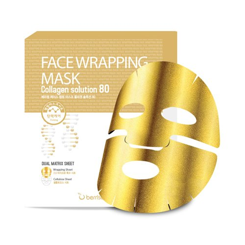 Berrisom - Gesichtsmasken Gold mit Collagen Face Wrapping Mask - 5 x Goldene Anti Aging Masken für Männer und Frauen gegen Augenringe und Falten mit Kollagen, Portulak und Ginkgo für trockene, fettige, normale Haut / Mischhaut - Lifting - Tagespflege - Hautpflege - Fango