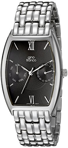 gino franco Men's 920BK Stainless Steel Multi-Function Bracelet Watch