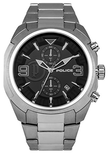Police Men's Quartz Watch with Black Dial Analogue Display and Silver Stainless Steel Bracelet 14141JS/02M