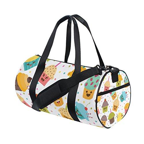 ALAZA Gym Sporttasche Netter Emoji Kuchen Reise Seesack für und