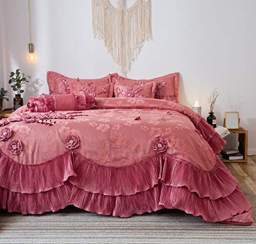 Tache 6Stück Faux Satin Pink Royal Dreams Tröster Set, Polyester-Mischgewebe, rose, Queen -