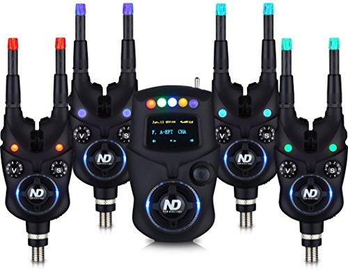 Preisvergleich Produktbild New Direction Tackle Bluetooth Elektronische Bissanzeiger Fun Set(4x K9, 1x R9 Mini-Receiver, 1x Plastikbox,  8x Leuchten (R, G, B, P))