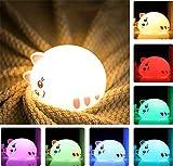 Veilleuse Enfant, Veilleuse Chat LED, [USB Rechargeable][Ambiance Créatif] Lampe de Nuit/Lampe Contrôle Pour Cadeau Bébé Anniversaire, Utilisez 7 modes Statique/Respiration/Clignotant (Mignon)