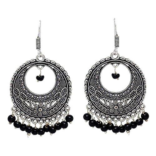 Fashion Honor Black Beaded Oxidised Silver Hoop Earrings Jewellery for Women