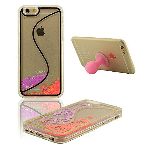 Apple iPhone 6S Plus Coque Case, Dur Transparent Flowable Coeurs colorés Conception Liquide Housse de Protection Case pour iPhone 6S Plus / 6 Plus 5.5 inch + Silicone Titulaire pourpre