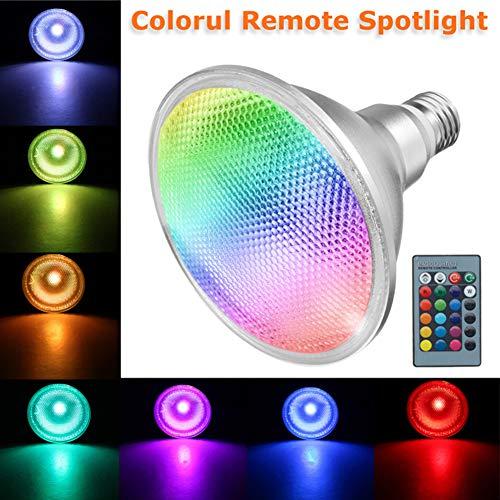 Led Strahler mit Fernbedienung, E27 PAR38 20W RGB farbige Glühbirne - Aluminiumgehäuse IP65 wasserdichtes Flutlicht, 16 Farben, die Stimmungslampe für Hauptpartei-Stab-Dekor ändern(RGB) -
