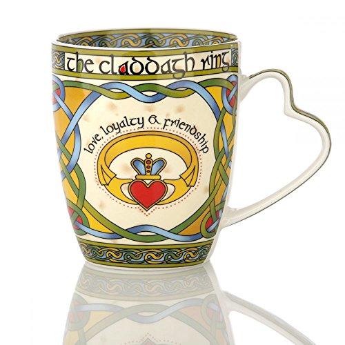 Eburya Claddagh Mug - Kaffeebecher aus Irland mit Claddagh Ring & keltischem Muster