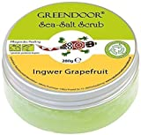Greendoor Sea Salt Scrub Ingwer Grapefruit, Meersalz Peeling ohne Kunststoff, 280g, ohne Konservierungsstoffe