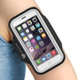 """Armband for iPhone 8/ 7/ 6/ 6S/ SE/ 5/ 5C/ 5S, and Galaxy S8/ 7/ 6, Google Pixel, by Wanshine, Water Resistant Sport Exercise Running Pouch Key Holder fit phone diagonal size up to 5.85""""- Black"""