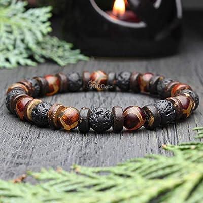 Magnifique Bracelet homme/Men's perles Ø 8mm Pierre naturelle Agate Motif Tibetain Dzi Lave Volcanique Bois Cocotier/Coco Made in France BRALAVAZ-17