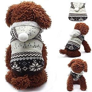 Ogquaton Manteau de Chien de Compagnie Coton Chaud vêtements de Chien Manteau Bicolore Flocon de Neige Manteau noël vêtements de Chien de Compagnie Noir l