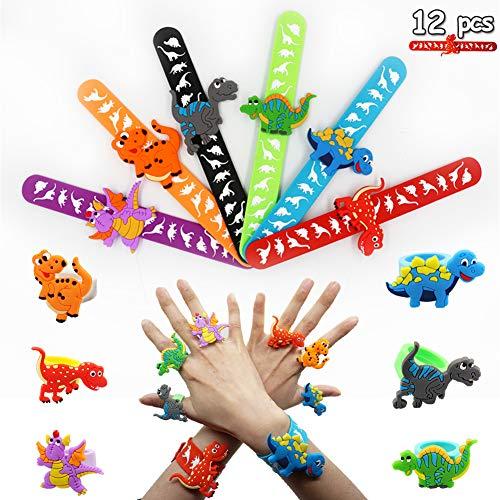 KaliningEU Dinosaurier Ring und Dinosaurier Slap Armband Kinder Slap Band Party Dekoration Geschenk,Dinosaurier Spielzeug für Kinder(12 Stück) - Kinder Dinosaurier-spielzeug Für