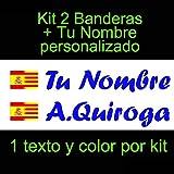 Vinilin - Pegatina Vinilo Bandera España/Cataluña + tu Nombre - Bici, Casco, Pala De Padel, Monopatin, Coche, etc. Kit de Dos Vinilos (Azul Oscuro)
