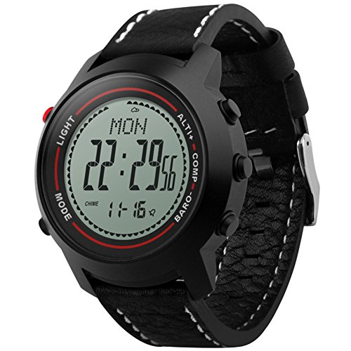 Elektronischer Bewegungs-sensor (Herren Outdoor-sportuhr elektronische,Bergsteigen Leder Countdown Alarm Leuchtend Wettervorhersage Und kompass Multi-funktions-teen-uhr-A)