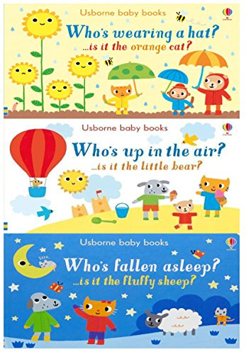 Usborne Baby Books Collection 3 Board Books Set By Sam Taplin (Who's Wearing a Hat, Who's up in the Air, Who's Fallen Asleep)