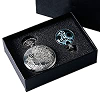 DR WHO Themed Polished Silver Finish Retro/Vintage Case Full Hunter Mens/Boys Quartz Pocket Watch Necklace Set - With Luminous Blue Gallifrey Timelord Seal Pendant