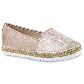 Damen Espadrilles Metallic SlipperBast Profilsohle Flats Freizeit Glitzer Prints Spitze Schuhe 131120 Rosa 38 Flandell