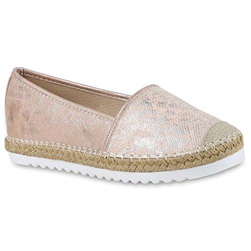 Damen Espadrilles Metallic SlipperBast Profilsohle Flats Freizeit Glitzer Prints Spitze Schuhe 131120 Rosa 38 Flandell wi3ZI5fD