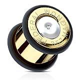 Flesh Tunnel Plug Edelstahl Ohr Piercing Fake Patrone Kugel Ohrstecker Munition gold 12 mm