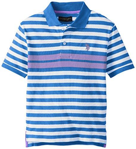 U.S. Polo Assn. Big Boys' Engineered Striped Pique Polo, Blue Tile, 14/16 (Boys Pique Polo Striped)