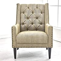 NOAH Classic Tall Tufted Wingback Chair, Nail Head Flared Arm Fabric for Living Room, Brown