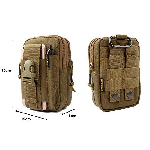 Yisibo Tactical Molle EDC Tasche Kompakt Outdoor Multifunktions-Utility Gadget Tool Gürtel Taille Tasche Pack mit extra Aluminium Karabiner (Braun) Braun