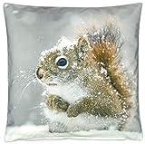 Kissenhüllen Kissenbezug Hülle Kissen Bezug 40x40 Fotokissen Eichhörnchen Schnee