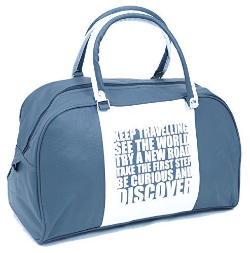 Sac vintage rétro Discover couleur Gris/Blanc Shopper Bag Loisirs Sport Voyages Unisexe FA. bowatex