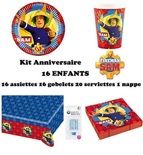 Kit Sam Le Pompier 16 Enfants Complet Anniversaire (16 Assiettes, 16 gobelets, 20 Serviettes, 1 Nappe + 10 Bougies Magiques offertes) fête Nouveauté 2019