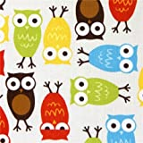 Tela laminada premium de Robert Kaufman con búhos coloridos