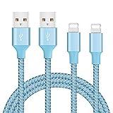 Ulinek[2 Pack Pad Ladekabel 2M Phone Kabel [Reflektierende Blau] Nylon Datenkabel für PhoneX/ 8/8 Plus 7/7Plus 6 6 Plus 6s 6s Plus 5s 5c 5 Pad
