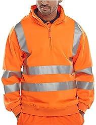 Fast Fashion - Sweatshirt Grande Visibilité Trimestre Réfléchissante Fleece Zippée Chaleureuse - Mens
