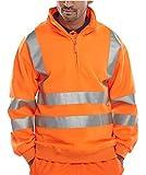 Fast Fashion Mens Sweatshirt Hohe Sichtbarkeit Reflektierende Quartal Reißverschluss Fleece Warme (L = 40, Orange)